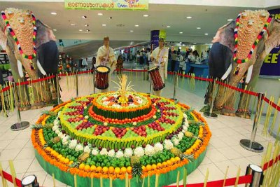 onam-decoration-with-fruits-and-vegetable-ePathram
