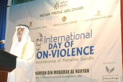 sheikh-nahyan-bin-mubarak-al-nehyan-inaugurate-international-day-of-non-violence-ePathram